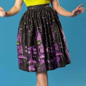 Pinup Couture Bella skirt in villains castle print